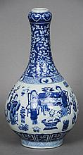 A Chinese blue and white porcelain bottle vase Dec