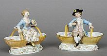 A pair of 19th century Meissen porcelain figural t