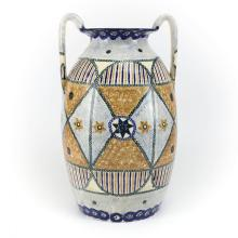 Large Hand Painted German Earthenware Pottery Urn