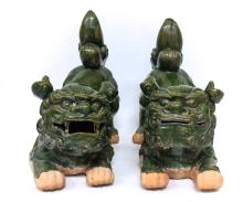 Pair Terracotta Foo Dogs Sculptures  Seated Position
