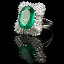 18k White Gold Emerald & Diamond Vintage Cocktail Ring