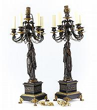 Pair H. Ferrat 19th Century Empire Bronze Candleabras