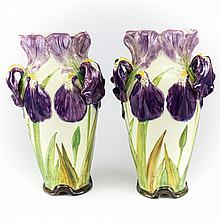 Pair of Delphin Massier Majolica Iris Form Vases