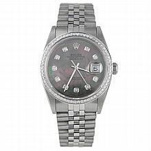 Rolex 18k Gold Diamond Mother of Pearl Datejust Watch