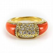 Van Cleef 18k Gold, Coral & Diamond Philippine Ring