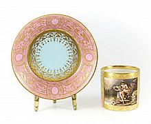 Royal Vienna Hand Painted Cup & Saucer, Raised Gilt