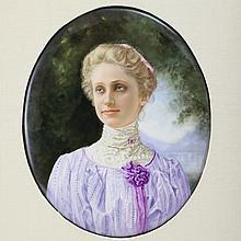 KPM Hand Painted Portrait  on Porcelain Plaque
