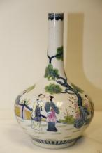 A magnificent late Guangxu period and marked vase decorated in polychrome with the twelve beauties of the Red Mansion