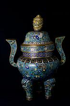 Gilt-Bronze and Cloisonné Enamel Incense Burner