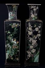 FamilleNoire Enameled Porcelain Baluster Vases