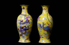 A Pair of Chinese Enameled Vases