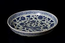 blue and White Circular Dish
