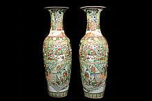 Massive Famille Verte Enameled Porcelain Floor Vases