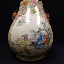 A large deer-handled vase with millefleur decoration