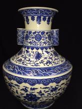 A large blue & white vase