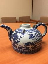 A blue and white teapot