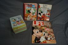 MIXED LOT OF DISNEY BOOKS, LIFE MAGAZINE, RECIPE