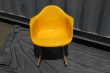 Bright Yellow Molded Rocking Chair with Maple Runners and Chrome Legs, Eames Style