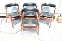 Set of 4 Vintage Teak Dining Chairs with Black Vinyl, characteristic of Kristiansen