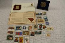 STAMPS AND BICENTENNIAL MEDAL !!!! WE SHIP WORLD WIDE !!!!