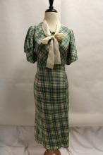 1940s Rayon Dress with Silk Collar & bow