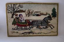 Hand Hooked Vintage Carpet, mounted on board, winter sleigh ride scene circa 1930