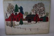 circa 1930 Hand Hooked Carpet, farm scene mounted on board