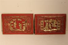 Asian Carved and Gilded Red Plaques