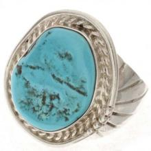 Turquoise Silver Mens Ring Sleeping Beauty Any Size