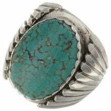 Navajo Spiderweb Turquoise Mens Ring Sterling Size 9 to 12.5