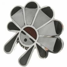Inlaid Zuni Sunface Old Pawn Ring Handmade Circa 1960-70's