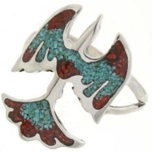 Thunderbird Turquoise Coral Ladies Ring Navajo Sterling Inlay