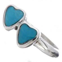 Turquoise Double Heart Ring Indian Made Silver Design