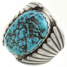 Turquoise Nugget Silver Ring Navajo Big Boy Sizes 9 To 15
