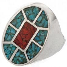 Turquoise Inlaid Mens Ring Navajo Silver Sizes 9 to 12