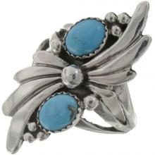 Natural Turquoise Ladies Ring Fan Sterling Fancy Shank