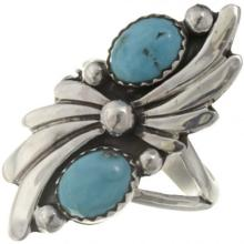 Natural Turquoise Ladies Ring Two Stone Sterling Fan Design