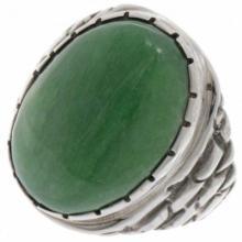 Green Variscite Silver Adobe Ring Navajo Mens Sizes 9 to 13