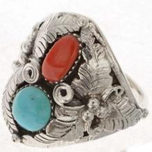 Turquoise Coral Mens Ring Big Boy Any Size