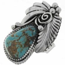 Genuine Turquoise Silver Ladies Pointer Ring Navajo Leaf Fan Design