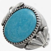 Blue Turquoise Silver Mens Ring Navajo Handmade Any Size