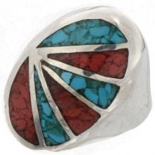 Inlaid Turquoise Coral Mens Ring Navajo Made Sizes 9 to 12