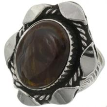 Southwest Fire Agate Silver Ring Ladies One Of A Kind