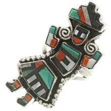 Inlaid Zuni Rainbow Man Ring Old Pawn Sterling 1970's