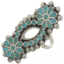 Zuni Inlaid Turquoise Ring By Matthew & Rosemary Lidase 1960's