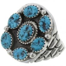 Natural Turquoise Cluster Silver Ring Navajo Big Boy Sizes 9 to 15