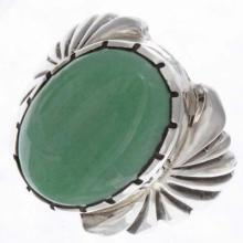 Green Variscite Silver Mens Ring Navajo Made Sizes 9 to 13