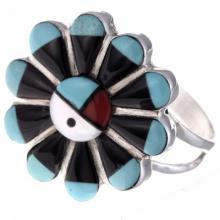 Inlaid Turquoise Ladies Ring Zuni Sunface Silver