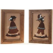 Navajo Boy Girl Sand Paintings Framed Set of Two