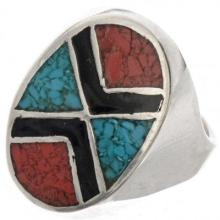 Turquoise Inlaid Mens Ring Navajo Coral Silver Sizes 9 to 12